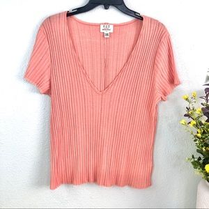 PST project social t ribbed textured peach salmon